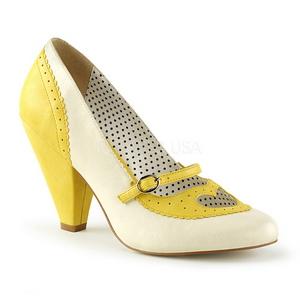 Amarelo 9,5 cm POPPY-18 Pinup sapatos scarpin com saltos baixos