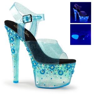 Azul 18 cm SKY-308UVMG Neon Plataforma Sandálias Salto Agulha