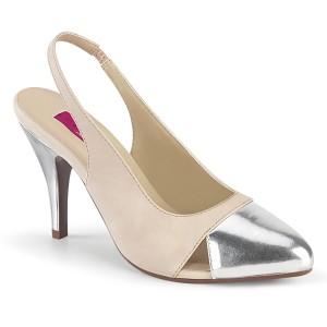 Bege 10 cm DREAM-405 slingback sapatos de travesti