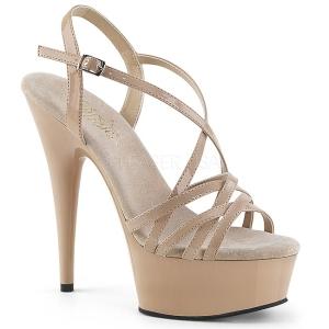Bege 15 cm Pleaser DELIGHT-613 Sandálias de salto alto