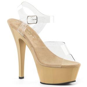 Bege 18 cm Pleaser KISS-208 Plataforma Sapatos Salto Alto