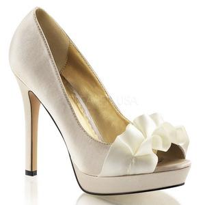 Bege Cetim 12 cm LUMINA-42 sapato scarpin para noite de gala