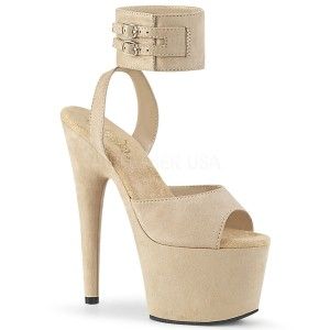 Bege Imitação de couro 18 cm ADORE-791FS sandálias de tiras no tornozelo