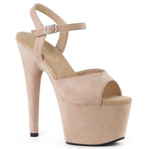 Bege imitação de couro 18 cm ADORE-709FS sandálias de salto alto