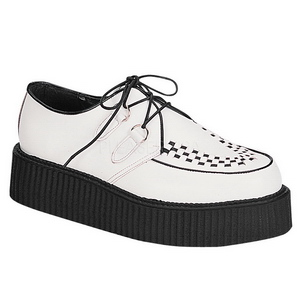 Branco Couro 5 cm CREEPER-402 Creepers Sapatos Homem Plataforma