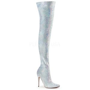 Branco Glitter 13 cm COURTLY-3015 Botas altas pleaser