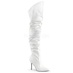Branco Imitação de couro 10 cm CLASSIQUE-3011 bota acima do joelho