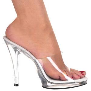 Branco Transparente 12 cm FLAIR-401 Tamancos Altos para Homens