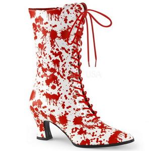 Branco Vermelho 7 cm VICTORIAN-120BL Botinha Mulher com Cadarco
