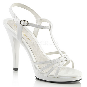Branco Verniz 12 cm FLAIR-420 Sandália Feminina Salto Alto