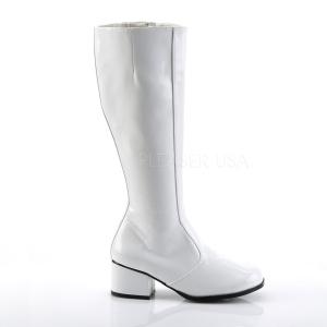 Branco Verniz 5 cm GOGO Botas Mulher para Homens