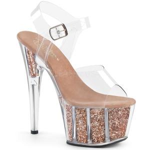 Cobre brilho 18 cm Pleaser ADORE-708G sapatos de saltos pole dance