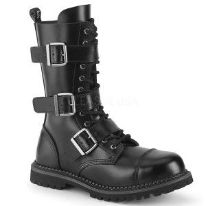 Couro genuíno RIOT-12BK botas dedo do pé de aço - botas de combate demonia