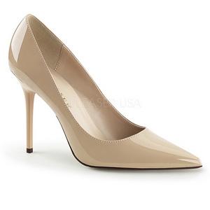 Creme Verniz 10 cm CLASSIQUE-20 Sapatos Scarpin Salto Agulha