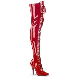 Envernizado Vermelho 13 cm SEDUCE-3024 botas altas da coxa com ataduras