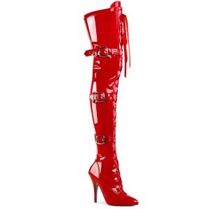 Envernizado Vermelho 13 cm SEDUCE-3028 botas altas da coxa com ataduras