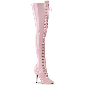 Envernizado rosa 13 cm SEDUCE-3024 botas altas da coxa com ataduras