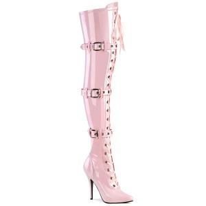 Envernizado rosa 13 cm SEDUCE-3028 botas altas da coxa com ataduras