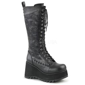 Imitação Couro 9 cm SCENE-107 Botas do punk pretos com cadarços
