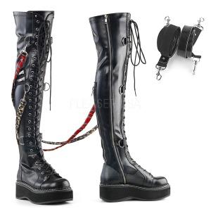 Imitação de couro 5 cm EMILY-377 bota plataforma acima do joelho
