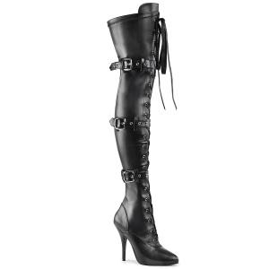 Imitação de couro preto 13 cm SEDUCE-3028 botas altas da coxa com ataduras