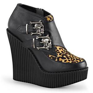 Leopardo Imitação Couro CREEPER-306 sapatos creepers cunha altos