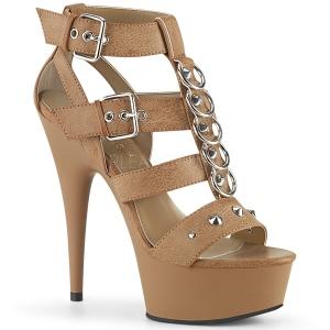 Marrom Imitação de couro 15 cm DELIGHT-658 sapatos pleaser de salto alto