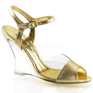 Ouro 10,5 cm LOVELY-442 Sandália com salto de cunha