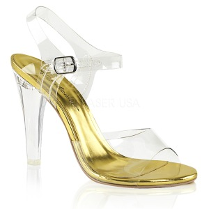 Ouro 11,5 cm CLEARLY-408 Sandálias para noite de festa