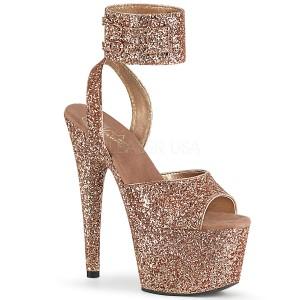 Ouro Brilho 18 cm ADORE-791LG sandálias de tiras no tornozelo