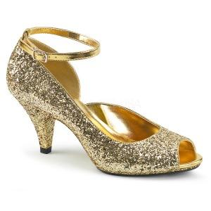 Ouro Brilho 7,5 cm BELLE-381G sapatos scarpin aberto na frente
