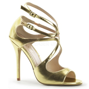 Ouro Fosco 13 cm AMUSE-15 sandálias para noite de gala