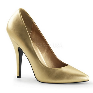 Ouro Fosco 13 cm SEDUCE-420 scarpin de bico fino salto alto
