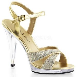 Ouro Glitter 12 cm FLAIR-419G Saltos Altos para Homens