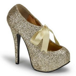 Ouro Glitter 14,5 cm Burlesque TEEZE-10G Platform Scarpin Sapatos