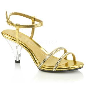 Ouro Glitter 8 cm BELLE-316 Sandália Feminina Salto Alto