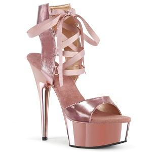 Ouro Imitação de couro 15 cm DELIGHT-600-14 sandálias pleaser com plataforma