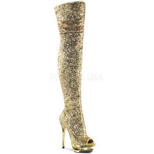 Ouro Lantejoulas 15 cm PLEASER BLONDIE-R-3011 bota acima do joelho