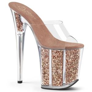 Ouro glitter plataforma 20 cm FLAMINGO-801G chinelo com salto alto pleaser