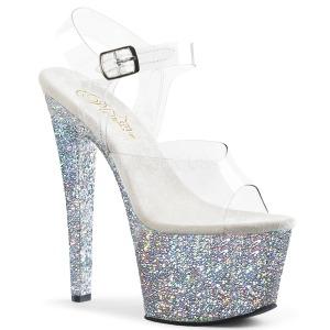 Prata brilho 18 cm Pleaser SKY-308LG sapatos de saltos pole dance