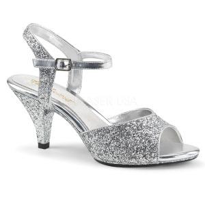Prata brilho 8 cm Fabulicious BELLE-309G sandálias de salto alto mulher