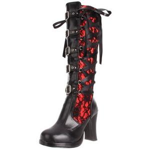 Preto 10 cm CRYPTO-106 plataforma botas mulher com fivelas