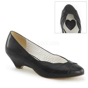 Preto 4 cm retro vintage LULU-05 Pinup sapatos scarpin com saltos baixos