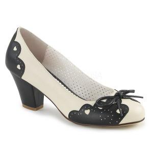 Preto 6,5 cm WIGGLE-17 Pinup sapatos scarpin com salto grosso