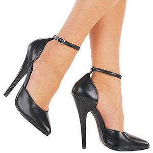 Preto Couro 15 cm DOMINA-402 Sapatos Scarpin Femininos