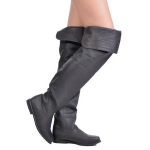Preto Couro 8 cm RAVEN-8826 bota acima do joelho