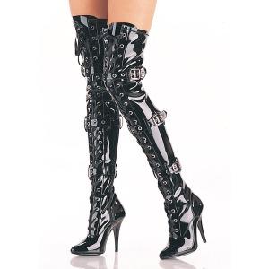 Preto Envernizado 12,5 cm SEDUCE-3028 bota acima do joelho