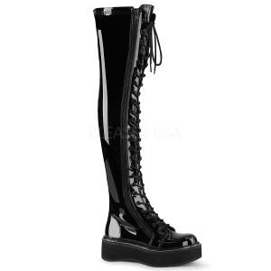 Preto Envernizado 5 cm EMILY-375 botas altas da coxa com ataduras