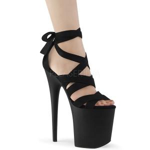 Preto Imitação de couro 20 cm FLAMINGO-876 sandálias de atacadores no tornozelo