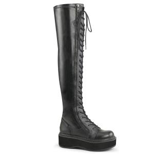Preto Imitação de couro 5 cm EMILY-375 botas altas da coxa com ataduras